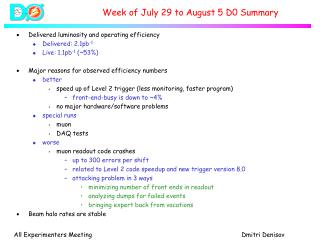 Week of July 29 to August 5 D0 Summary