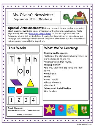 Ms.  Olvera's  Newsletter September  30  thru October 4