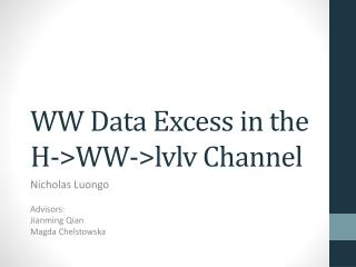 WW  Data Excess  in the H->WW-> lvlv  Channel