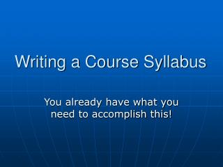 Writing a Course Syllabus