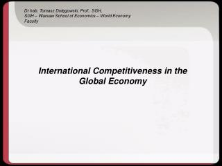 International Competitiveness in the Global Economy