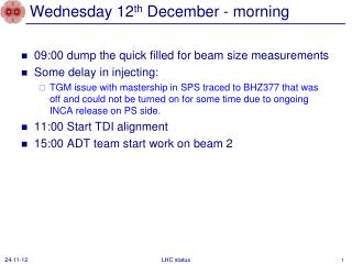 Wednesday 12 th  December - morning