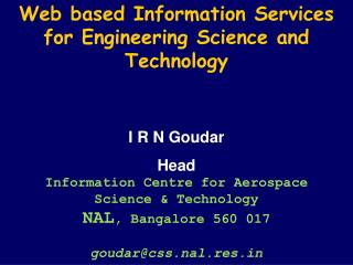 Web based Information Services for Engineering Science and Technology