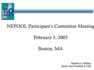 NEPOOL Participant's Committee Meeting February 5, 2003 Boston, MA