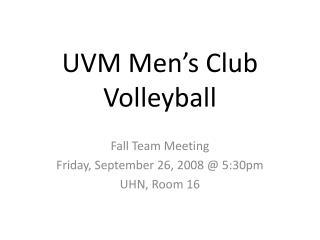 UVM Men�s Club Volleyball