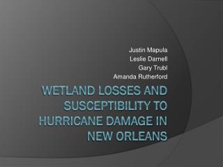 Wetland Losses and Susceptibility to Hurricane Damage in New Orleans