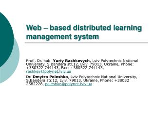 Web – based distributed learning management system