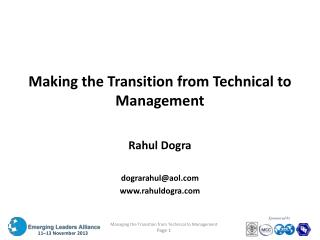Making the Transition from Technical to Management