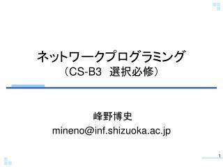 ネットワークプログラミング ( CS-B3  選択必修)