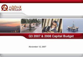 Q3 2007 & 2008 Capital Budget