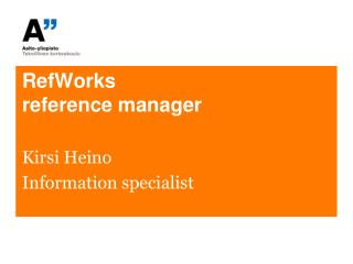 RefWorks reference manager