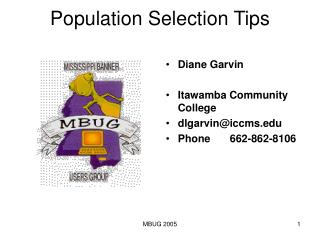 Population Selection Tips