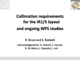 Collimation requirements  for the IR1/5 layout a nd ongoing WP5 studies