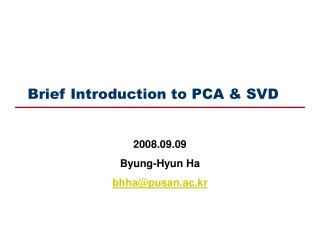 Brief Introduction to PCA & SVD