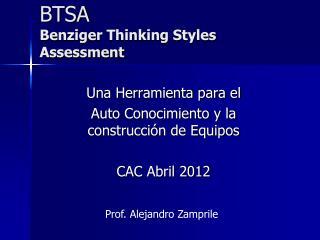 BTSA Benziger Thinking Styles Assessment