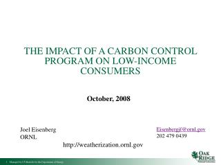 THE IMPACT OF A CARBON CONTROL PROGRAM ON LOW-INCOME CONSUMERS