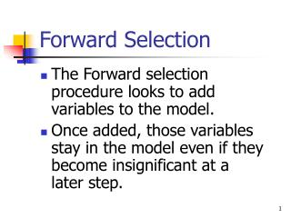 Forward Selection