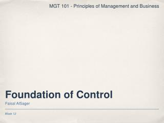 Foundation of Control