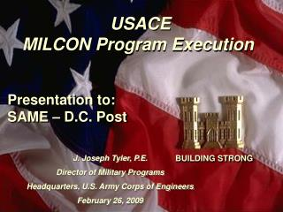USACE  MILCON Program Execution