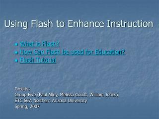 Using Flash to Enhance Instruction