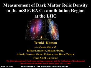 Measurement of Dark Matter Relic Density in the  mSUGRA  Co-annihilation Region  at the LHC