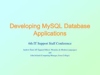 Developing MySQL Database Applications