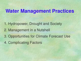 Water Management Practices