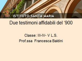 Seminario interdisciplinare «Testimoni affidabili del '900»