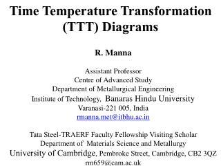 Time Temperature Transformation (TTT) Diagrams