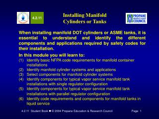 Installing Manifold  Cylinders or Tanks