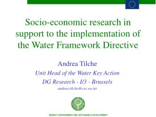Socio-economic research in support to the implementation of the Water Framework Directive