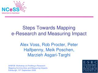 Steps Towards Mapping  e-Research and Measuring Impact
