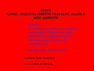 CEBES CURSO: DESENVOLVIMENTO,TRABALHO, SAÚDE E MEIO AMBIENTE