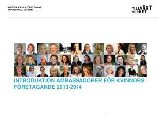 Introduktion ambassadörer för kvinnors  företagande 2013-2014