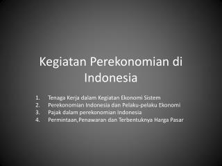 Kegiatan Perekonomian di Indonesia