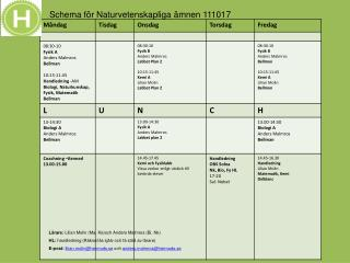 Schema för Naturvetenskapliga ämnen 111017