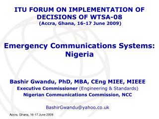 Emergency Communications Systems: Nigeria