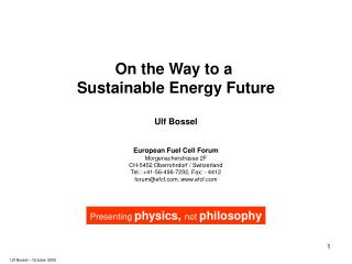 On the Way to a  Sustainable Energy Future