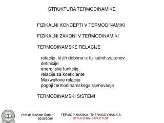 STRUKTURA TERMODINAMIKE