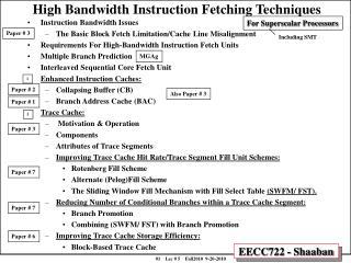 High Bandwidth Instruction Fetching Techniques