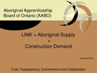 LINK = Aboriginal Supply  + Construction Demand January 2013