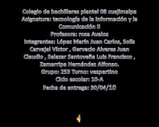 Colegio de bachilleres plantel 08 cuajimalpa Asignatura: tecnología de la información y la