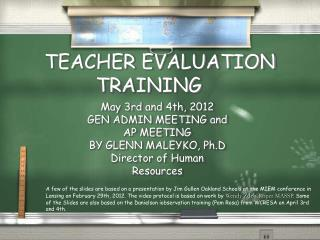 TEACHER EVALUATION TRAINING