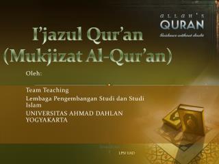 I�jazul Qur�an (Mukjizat Al-Qur�an)