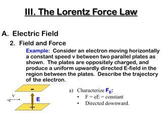 III. The Lorentz Force Law
