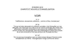 SYNODE 2012 CHARITÉ ET NOUVELLE ÉVANGÉLISATION