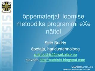õppematerjali loomise metoodika programmi eXe näitel