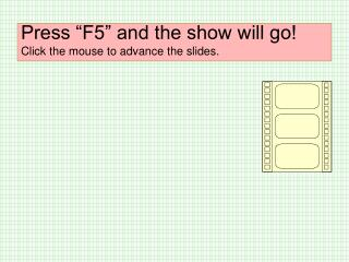 Press �F5� and the show will go! Click the mouse to advance the slides.
