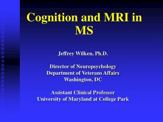 Cognition and MRI in MS