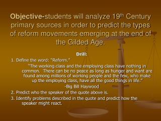"Drill: 1. Define the word: ""Reform."""